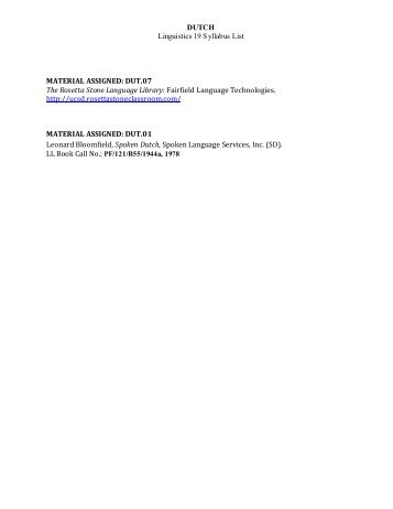 DUTCH (Rosetta Stone) - Linguistics