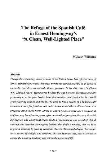 an analysis of existentialism in a story clean well lighted place by ernest hemingway