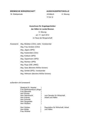 Protokoll der 8. Sitzung 17.04.2012 (pdf, 72.4 KB) - Hafenausschuss