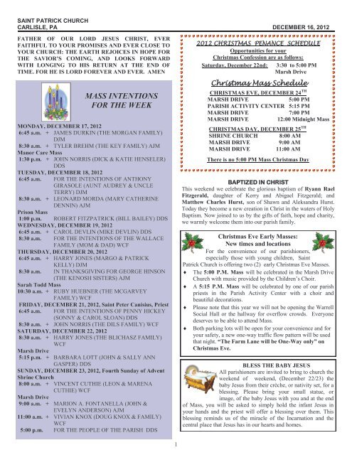 MASS INTENTIONS FOR THE WEEK - Saint Patrick Church
