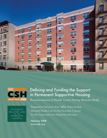 Defining and Funding the Support in Permanent Supportive Housing