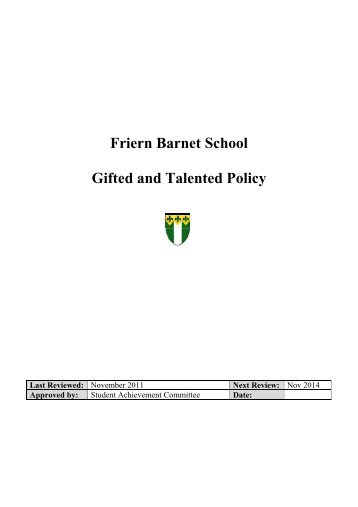 Friern Barnet School Gifted and Talented Policy