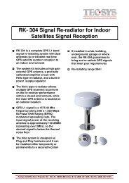 RK- 304 Signal Re-radiator for Indoor Satellites ... - TecSys GmbH