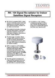 RK- 104 Signal Re-radiator for Indoor Satellites ... - TecSys GmbH