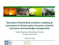 Overview of World Bank activities: modeling & assessment of climate ...