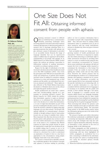 Obtaining informed consent from people with aphasia - ACNR