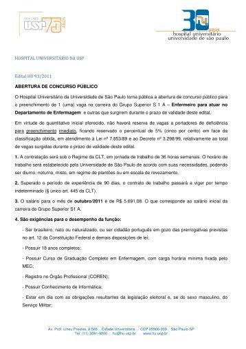 HOSPITAL UNIVERSITÁRIO DA USP Edital HU 93/2011 ...