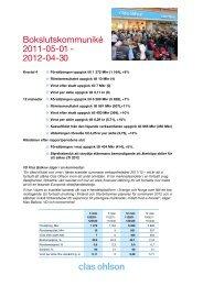 Bokslutskommuniké 2011-05-01 - 2012-04-30 - Clas Ohlson