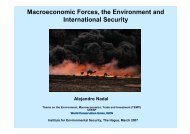 Macroeconmic Forces, the Environment and International Security