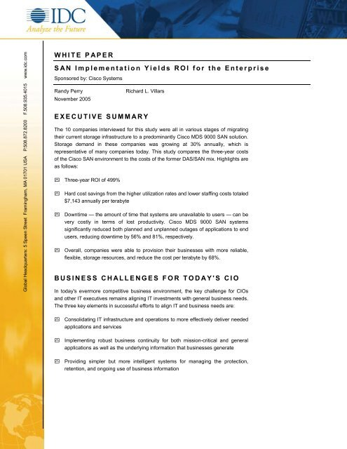 WHITE PAPER SAN Implementation Yields ROI for the ... - BL Trading