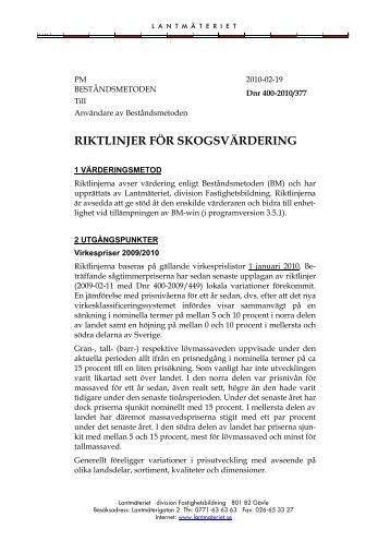 Riktlinjer för skogsvärdering 2009-2010 (pdf) - Lantmäteriet