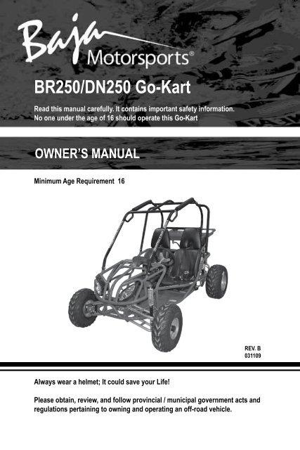owners manual - br250-dn250 go kart - baja motorsports baja shifter 90 wiring diagram  yumpu