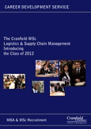 The Cranfield MSc Logistics & Supply Chain Management ...