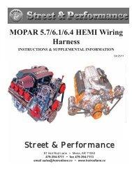MOPAR 5.7 HEMI Wiring Harness Street & Performance on