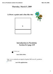 Intro to Parabolas section 8-2.notebook