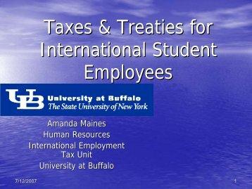 International Student Taxes and Treaties - University at Buffalo ...