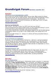 Grundtvigsk Forum Nyhedsbrev april