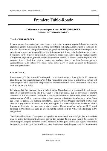 Première table ronde - SympoScience