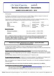 Service restauration – Secondaire ANNEE SCOLAIRE 2013-2014