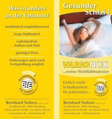 Was ist anders an der Varionox? Gesunder Schlaf - Bernhard Tedsen