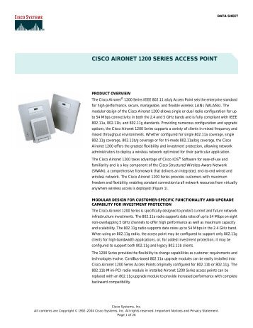 Cisco aironet 1200 Series access Point manual