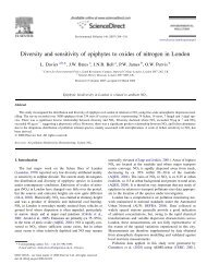 Diversity and sensitivity of epiphytes to oxides of nitrogen in London