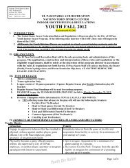 Youth Indoor Soccer Rules - City of El Paso