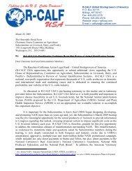 R-CALF USA Post Animal ID Hearing Testimony