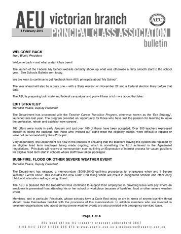 PCA Bulletin February 2010 - Australian Education Union, Victorian ...