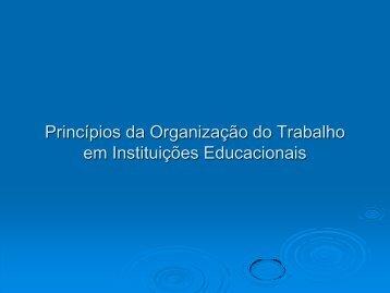 Princípios da Organização do Trabalho em Instituições Educacionais