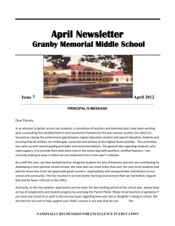 April Newsletter - Granby Public Schools