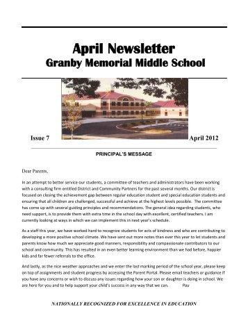 April Newsletter - Granby Public Schools