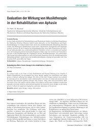 Evaluation der Wirkung von Musiktherapie in der Rehabilitation von ...