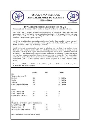 summary report 09 - Y Pant School