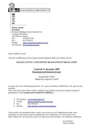 Vendredi 11 décembre 2009 Restaurant du Moulin des ... - Astech