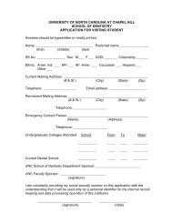 Application for Visiting Student - UNC School of Dentistry ...