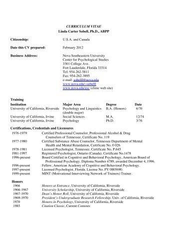 CURRICULUM VITAE Linda Carter Sobell, Ph.D., ABPP - Center for ...