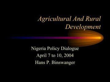 Agricultural And Rural Development - Initiative for Policy Dialogue