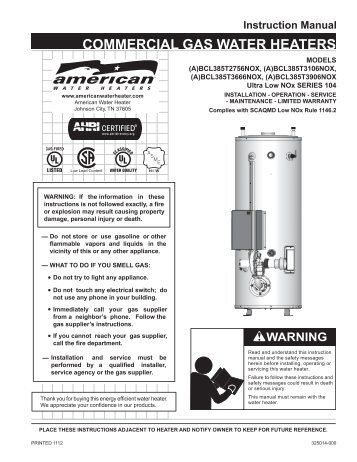 Commercial Gas BCL275-400 (Series 104) - American Water Heaters