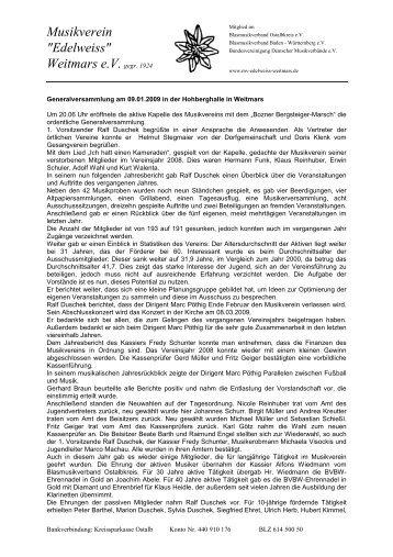 Bericht Generalversammlung 2009 - Musikverein Weitmars