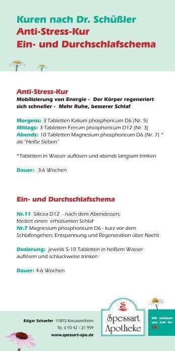 Kuren Nach Dr. Schüßler Anti-Stress-Kur Ein
