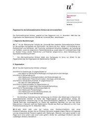 Reglement für die Zahnmedizinischen Kliniken der Universität Bern ...