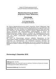 Donnerstag 9. Dezember 2010 - Forschungsplattform Migration and ...
