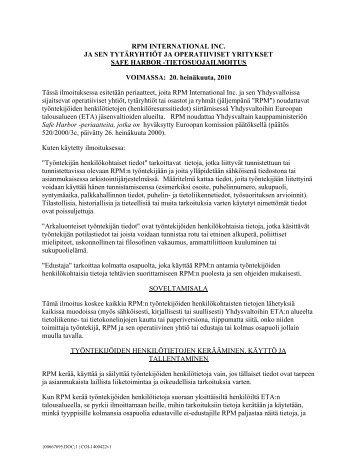 Safe Harbor Privacy Finnish - RPM, Inc.