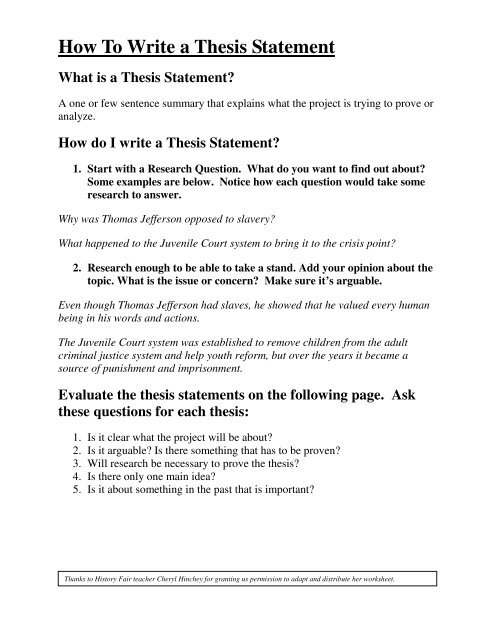 How To Write A Thesis Statement (PDF) - Chicago Metro History Fair