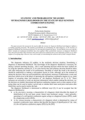 Statistic And Probabilistic Measures Of Diagnosis Likelihood On The ...