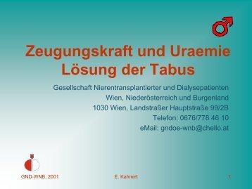Zeugungskraft und Uraemie Lösung der Tabus - GND Gesellschaft ...