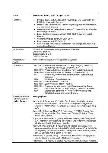 CV, publications, research projects,roles - Zentrum für Klinische ...
