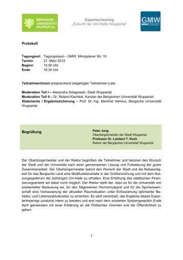 Expertenhearing - Fachbereich Sportwissenschaft der Universität ...