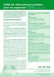 EURO 08: Aide-mémoire juridique pour les supporters - Gipfelsoli
